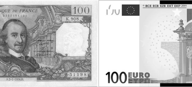 Billets de banque 100 francs et 100 euros